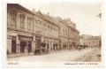 Békéscsaba, Andrássy út 1929-30 (1936) -  Lédig Károly cukrászdája, Takáts, felső kereskedelmi iskola, Jókai Színház, régi autó, kerékpár