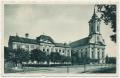 Békéscsaba, evangélikus gimnázium 1941 - aranysas patika, evangélikus templom, sínek, kerékpár