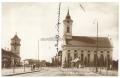 Békéscsaba, Kossuth tér 1928 - harang, evangélikus kistemplom és nagytemplom, motorvonat, motorvonat állomás