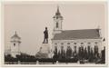 Békéscsaba, evangélikus templomok 1932 - Kossuth szobor, kút, szekér, lámpaoszlop (evangélikus egyház könyvkereskedésnek kiadása)