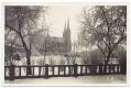 Békéscsaba, Kossuth tér 1937 - vasbeton kerítés, katolikus templom