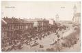 Békéscsaba, Szent István tér 1906 - főtéri piac, Sas Gyógyszertár (épült: 1891-ben), Vidovszky-ház, városi bérház, Décsey-ház (Kulpin Áruház), evangélikus kistemplom, evangélikus nagytemplom, motorvonat állomás