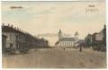 Békéscsaba, Szent István tér 1912 - hintók, Fiume Hotel, evangélikus nagytemplom, egytornyú katolikus templom (1907 őszén lebontották), városháza